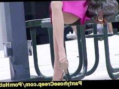 Nylon upskirt from girl at park