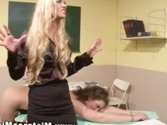 LEZDOM schoolgirl punished harsly by dom in classroom