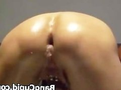 Slut gets ass fisted and filled with big toys