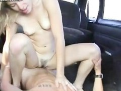 Pornstar Claire James riding cock in car
