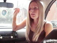 Blonde Smoking in Car