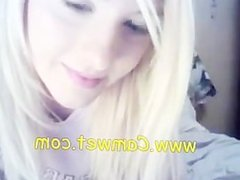 Blond girl spread her legs on webcam