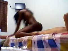 Naughty African slut bounces her hot tight ass riding hung tourist
