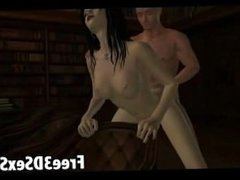 Sexy 3D cartoon babe getting fucked in the library