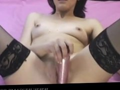 Hottie Camgirl in nylons fucks her tight pussy www.wucams.com clit pornocal