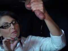 Dangling cock gets a smoking cigar handjob and gets milked for cum