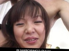 Cute asian babe Saki Ogasawara gets fingered her holes and play with dildo