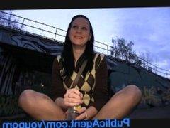 PublicAgent Sara masturbates and fucks on camera for revenge