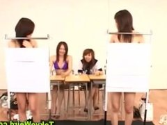 Asian teen girls strip in the classroom