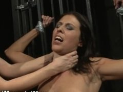 Bound subject punished by lezdom during their hot session