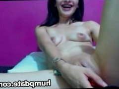 Horny babe toys her creamy squirting pussy