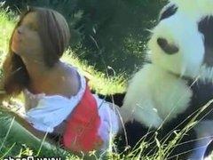 Toy panda and teen fake facial