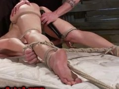 BDSM bondage fingered and clamped with wooden pegs