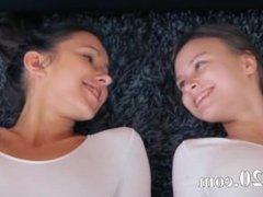 Hot lesbians in pantyhose enjoying strap