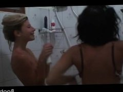 Teenage amateur girls teasing wet bodies in shower