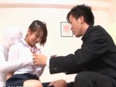 Smiling asian teeny gets full tits squeezed in 3some