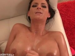 Close-up with busty babe tit fucking masseurs dick