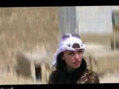 Amateur safari girl giving blowjob in POV in the desert