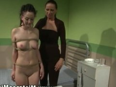 Mature lesbian LEZDOM domina spanking young sub