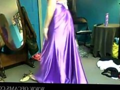 Sexy Teen Showing Off Her Purple Satin P