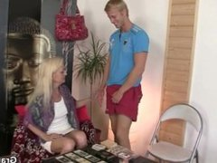 He bangs old blonde from behind