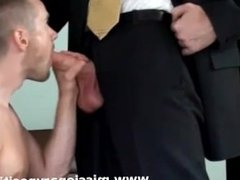 Young gay twink sucks suited guys cock
