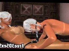 Three sexy 3D cartoon lesbian hotties have group sex