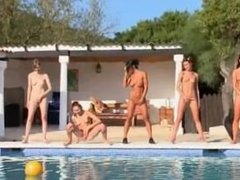 Six naked girls by the pool from Russia
