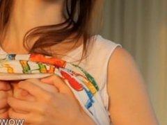 Cutie amateur brunette teen girl Beata fisting her own muff