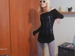 Sexy blonde babe gets horny stripping part5