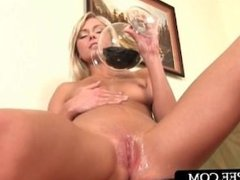 Hot ass blonde pouring hot piss over her pink cunt