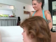 Lesbian threesome making out