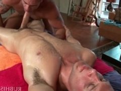 Naked gay masseur gets doggy style fucked on the table