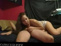 Amateurs in front of webcam takes pose