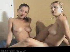 Gorgeous Latina Lesbians on Webcam ass-