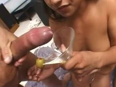 Sativa Rose and her friend drinks a glass load of cum
