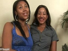 Two black hotties use strapon to fuck each other