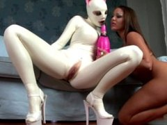 Lesbian Cat Girl in WHite Latex Outfit