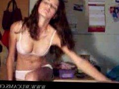 Brunette strips on webcam shagged takin