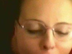 Nerdy girl bj get huge facial over glasses