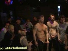 Baldheaded bdsm gay gangbanged in public