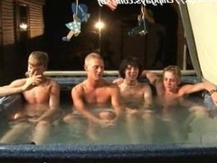 Tanner Dakota Tommy and Josh relax at the Jacuzzi