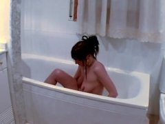 Latina maiden gets her bath interrupted by giant dildos and anal sex