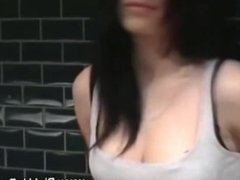 Real amateur gives blowjob ion public and loves it