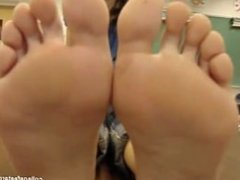 College girl shows her feet