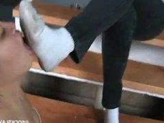 Asian girl cleans socks