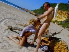 Blonde French babe assbanged on beach