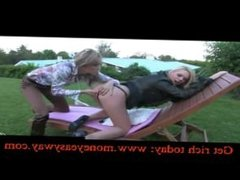 Two super hot blonde lesbians having sex outdoor with dildo