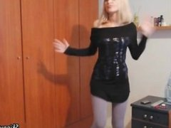 Sexy blonde babe gets horny stripping part1