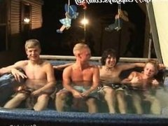 Tanner Dakota Tommy and Josh caresses in the hot tub